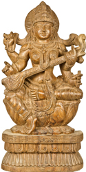 Goddess Saraswati Seated in Lalitasana on Lotus
