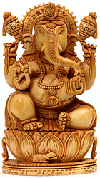 Four Armed Ganesha Seated on Lotus