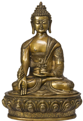 Medicine Buddha Symbolically Decorated with the Eight Auspicious Symbols
