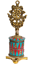 Tibetan Buddhist Prayer Wheel with Dharmachakra (Ashtamangala)