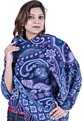 Astral Aura-Blue Reversible Jamawar Stole  with Woven Flowers