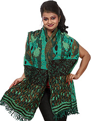 Atlantis-Green Jamawar Scarf with All-Over Weave