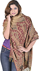 Beige and Red Reversible Jamawar Stole with Woven Paisleys