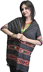 Black Kullu Scarf with Kinnauri Woven Border