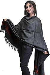 Black Kullu Stole with Kinnauri Border Woven by Hand