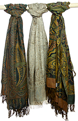 Lot of Three Jamawar Shawls with Jacquard Weave