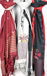 Lot of Three Kullu Shawls from Himachal