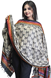 Gray Dupatta with Printed Figures Inspired by Warli Art