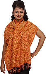 Red and Orange Reversible Jamawar Scarf with Woven Paisleys