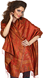 Scarlet Red Super-Silk Jamawar Stole with Large Woven Paisleys