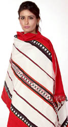 Ivory and Red Folk Shawl Woven in Nagaland