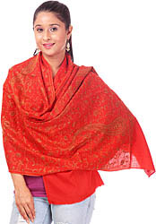 Scarlet Tusha Stole with All-Over Sozni Embroidery by Hand