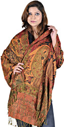 True-Red and Orange Reversible Jamawar Stole with Woven Paisleys