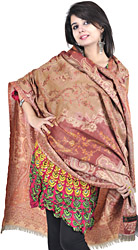 Beige and Red Jamawar Shawl with Needle Stitched Embroidered Paisleys