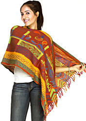 Multi-Color Reversible Jamawar Stole with Woven Flowers and Paisleys