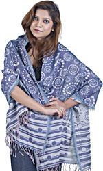 Crown-Blue Reversible Jamawar Stole with All-Over Woven Circles
