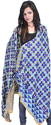 Beige and Blue Phulkari Dupatta from Punjab with Ari Embroidered Flowers and Sequins