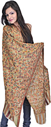Beige Kani Pure Pashmina Stole with Woven Paisleys and Flowers in Multi-Color Thread