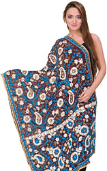 Ivory Phulkari Dupatta from Punjab with Ari-Embroidered Flowers by Hand