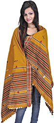 Mustard-Yellow Shawl from Kutch with Embroidered Bootis and Mirrors