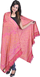 Magenta Jamawar Shawl with Needle Stitched Embroidered Flowers