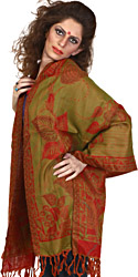 True-Red and Green Reversible Jamawar Stole with Woven Flowers