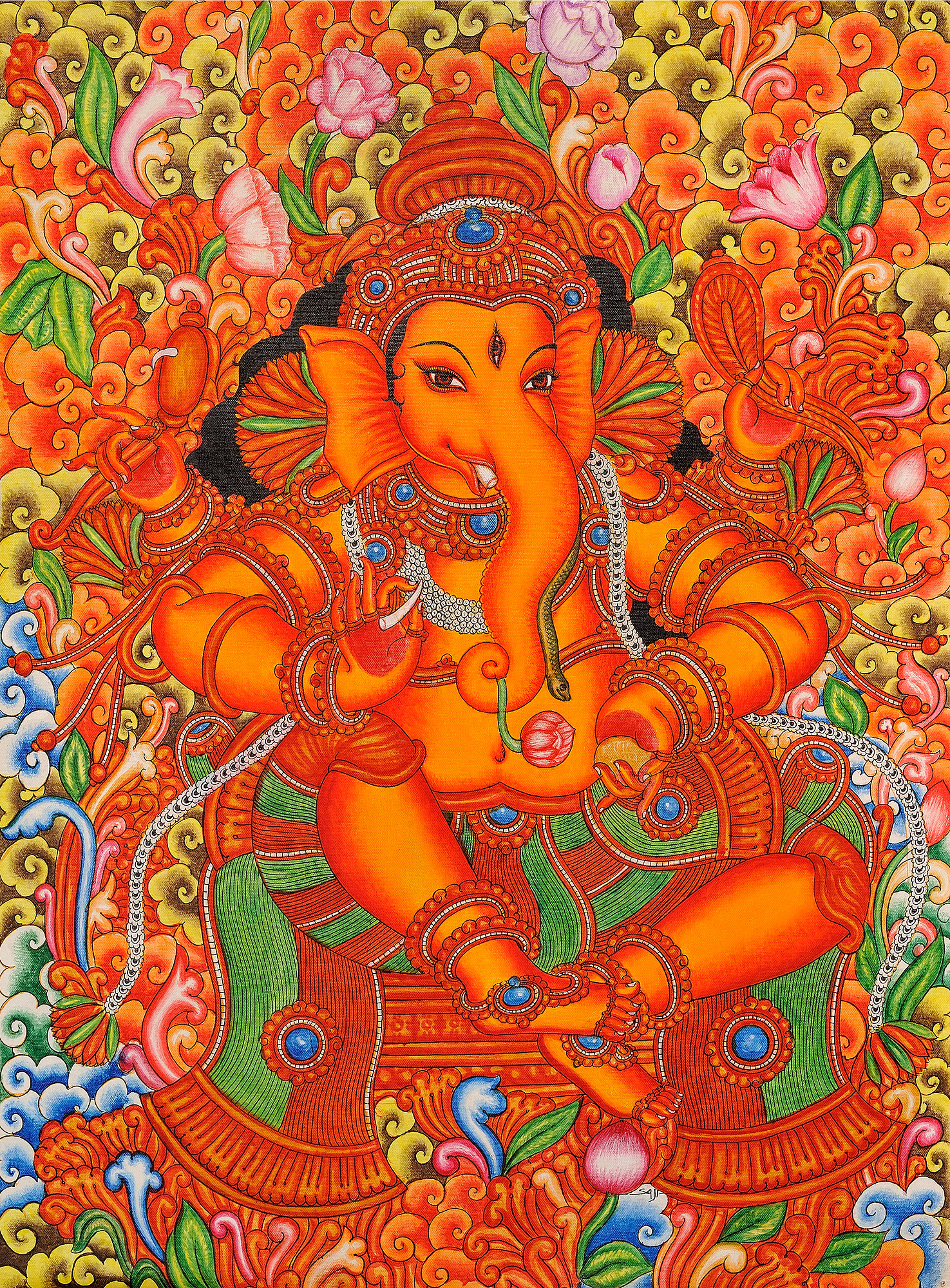 Lord ganesha in the style of mattanchery palace murals for Canvas mural painting