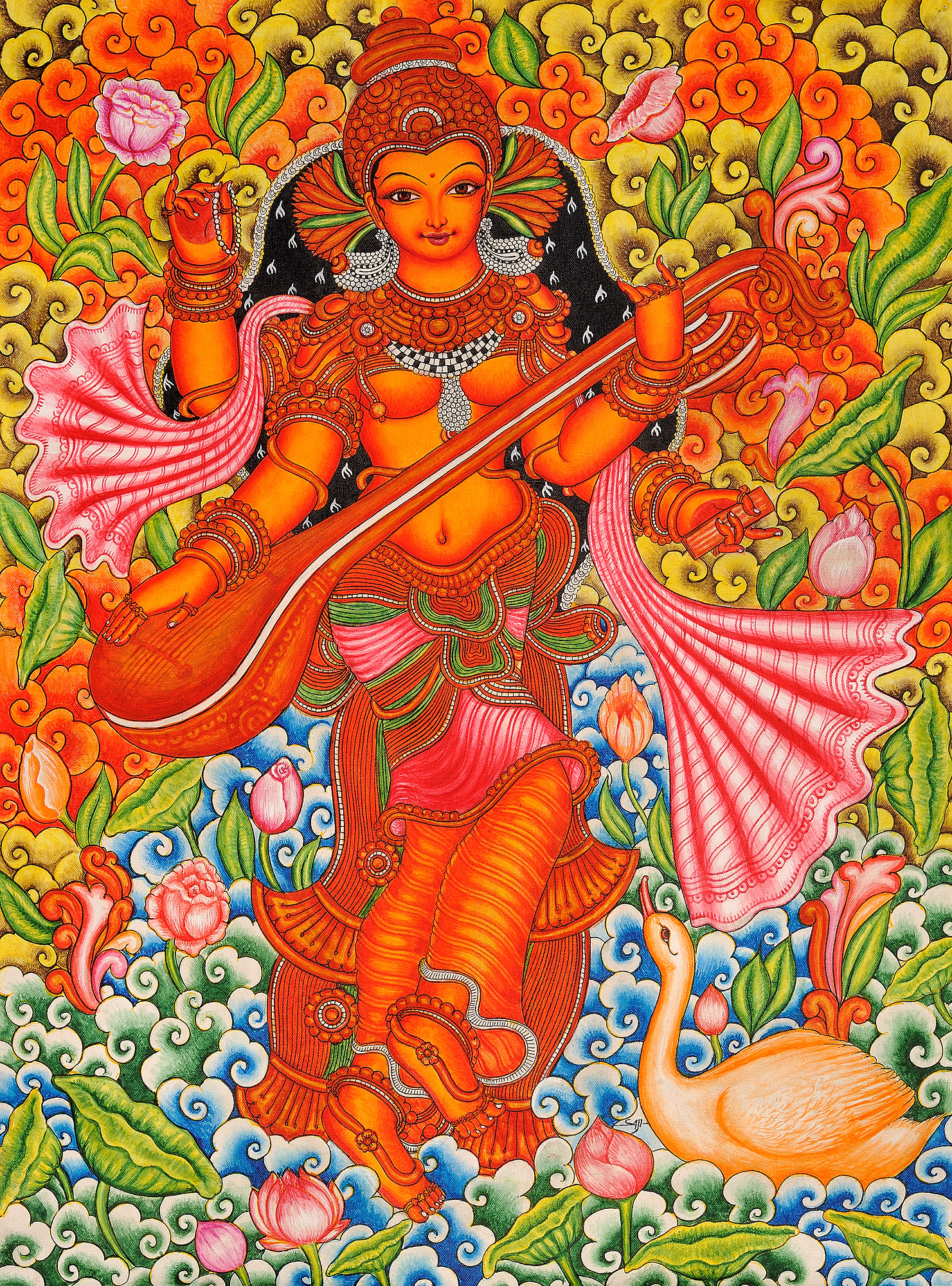 Goddess saraswati for Mural art of ganesha