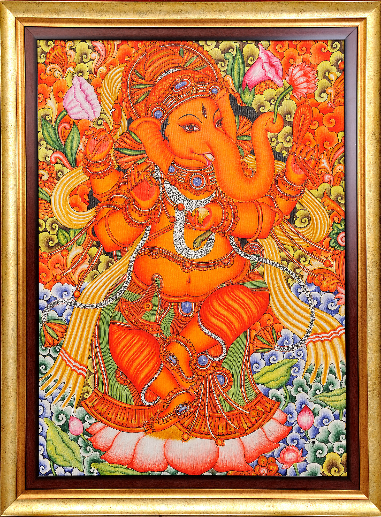 Lord ganesha dancing on lotus framed for Mural painting images