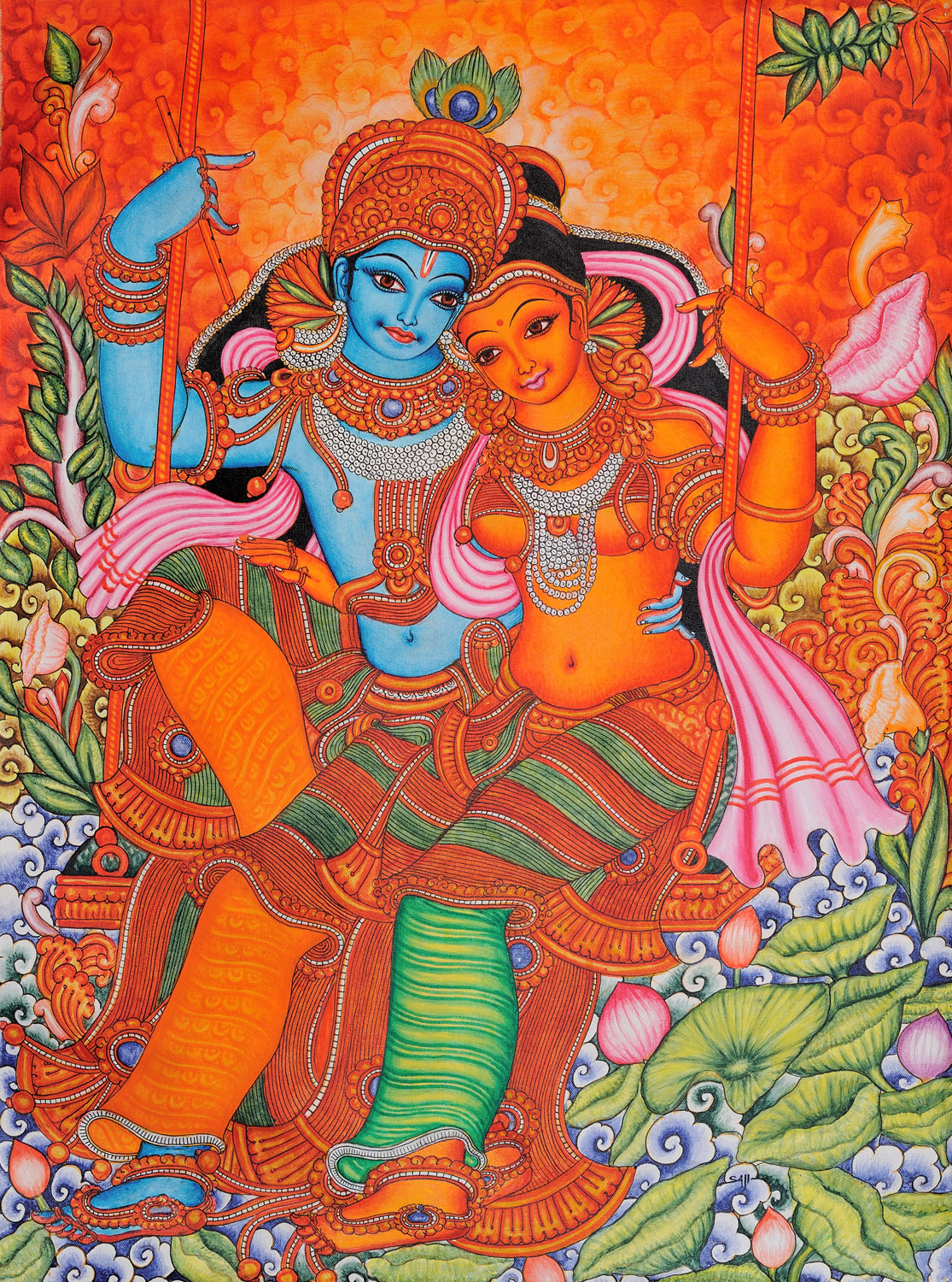 Radha and krishna on swing kerala folk style for Mural art designs