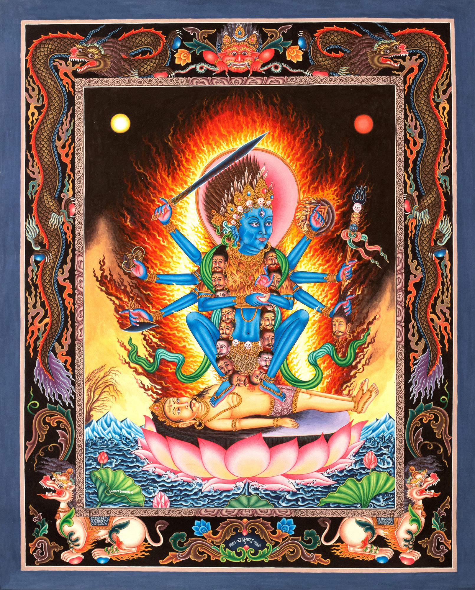 Superfine Mother Goddess Kali In Newari Style Tibetan