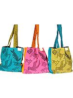 Lot of Three Kantha-Embroidered Shopper Bags from Ranthambore with Hand-Printed Wildlife