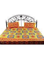 Floral-Printed Kantha Stitch Bedspread