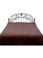 Maroon and Blue Double-Sided Pure Wool Jamawar Bedspread
