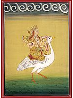 Goddess Saraswati on Her Mount Swan