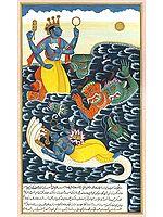 Lord Vishnu in the Form of Sattvaguna Conquers Rajoguna and Tamoguna
