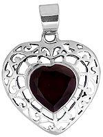 Faceted Garnet Heart-Shape Pendant
