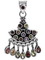 Faceted Gemstone Pendant (Garnet, Amethyst, Peridot, Citrine and Iolite)