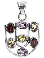 Faceted Gemstone Pendant (Garnet, Peridot, Amethyst and Citrine)