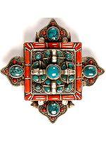 Gau Box Mandala Pendant with Coral, Turquoise and Vishva Vajra