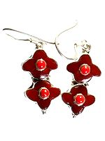 Inlay Earrings with Coral