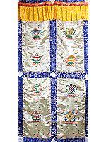Ashtamangala (Eight Auspicious Symbols of Buddhism, Tib. bkra shis rtags brgyad) - Tibetan Altar Curtain with Hanging Brocade Atop