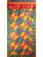 Multi-Colored Woven Auspicious Tibetan Symbols with Patchwork - Tibetan Altar Curtain