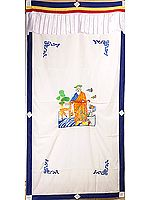 The Six Symbols of Longevity (Embroidered) - Tibetan Buddhist Altar Curtain