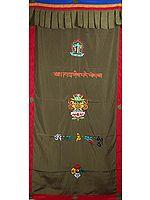 Buddhist Altar Curtain with Embroidered Ashtamangala