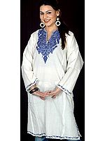 Ivory Kashmiri Phiran with Embroidery in Blue Thread