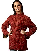 Red and Green Reversible Block-Printed Jacket from Ranthambore with Kantha Embroidery by Hand