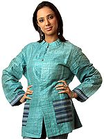 Azure Jacket from Ranthambore with Kantha Embroidery by Hand