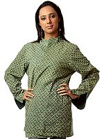 Green Reversible Block-Printed Jacket from Ranthambore with Kantha Embroidery by Hand