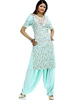 Tea-Green Two-Piece Salwar with All-Over Kashmiri Embroidery